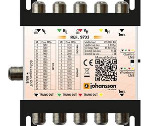 9733 - Мультисвитч DSCR каскадируемый 4 SAT + 1 Terr вх/ вых, 1 RF вых/16 абонентов