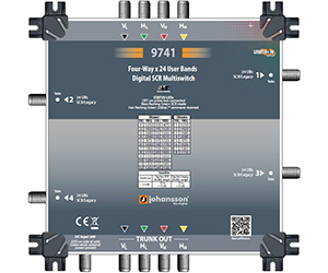 9741 - Мультисвитч DSCR каскадируемый 4 SAT вх/ вых, 4 RF SCR вых/64 абонента